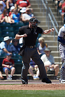 Home plate umpire Scott Costello calls a batter out on strikes during the International League game between the Durham Bulls and the Lehigh Valley Iron Pigs at Coca-Cola Park on July 30, 2017 in Allentown, Pennsylvania.  The Bulls defeated the IronPigs 8-2.  (Brian Westerholt/Four Seam Images)