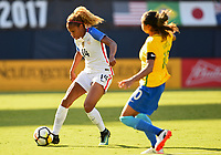 San Diego, CA - Sunday July 30, 2017: Casey Short, Marta during a 2017 Tournament of Nations match between the women's national teams of the United States (USA) and Brazil (BRA) at Qualcomm Stadium.