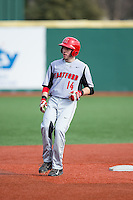 Nick Campana (14) of the Hartford Hawks stops at second base after hitting a double against the Virginia Cavaliers at The Ripken Experience on February 27, 2015 in Myrtle Beach, South Carolina.  The Cavaliers defeated the Hawks 5-1.  (Brian Westerholt/Four Seam Images)