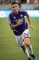 SAN JOSE,  - AUGUST 31: Kyle Smith #24 of the Orlando City SC during a game between Orlando City SC and San Jose Earthquakes at Avaya Stadium on September 1, 2019 in San Jose, .