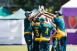 Players of South Africa celebrate during Day 1 of Hong Kong Cricket World Sixes 2017 Group A match between Marylebone Cricket Club vs South Africa at Kowloon Cricket Club on 28 October 2017, in Hong Kong, China. Photo by Vivek Prakash / Power Sport Images