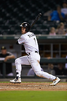 Charlie Tilson (1) of the Charlotte Knights lines a walk-off single to left field in the bottom of the tenth inning against the Scranton/Wilkes-Barre RailRiders at BB&T BallPark on August 14, 2019 in Charlotte, North Carolina. The Knights defeated the RailRiders 13-12 in ten innings. (Brian Westerholt/Four Seam Images)