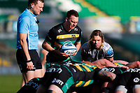 13th March 2021; Franklin's Gardens, Northampton, East Midlands, England; Premiership Rugby Union, Northampton Saints versus Sale Sharks; Tom James of Northampton Saints prepares to put the ball into a scrum under the watch of Faf de Klerk of Sale Sharks