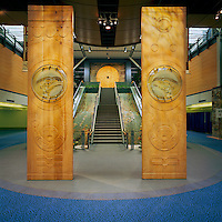 Coast Salish Welcome Figures (by Musqueam artist Susan A. Point) inside empty YVR Vancouver International Airport Terminal, Richmond, BC, British Columbia, Canada