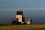 Sunset grain silo for crop storage Eastern Washington State USA