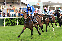 9th September 2021; Doncaster Racecourse, Doncaster, South Yorkshire, England; St Leger Ladies Day; Allayaali ridden by Dane O Neill wins the 13:40 British Stallion Studs EBF Carrie Red Fillies Nursery Doncaster Racecourse