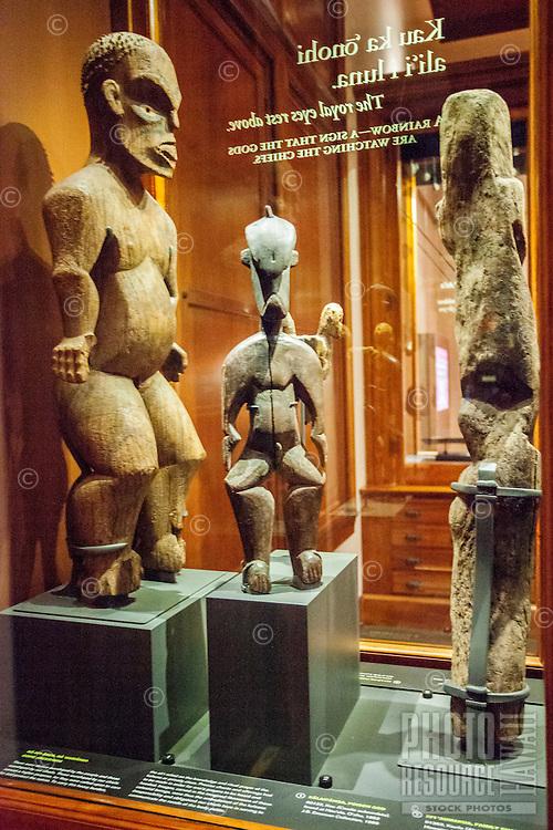 Ancient wood carvings of Hawaiian deities on display at the Bishop Museum, Honolulu, O'ahu.