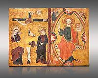 Gothic Panel from the tomb of the Knight Sancho Sanchez Carillo . Polychrome and gold leaf on wood by the Circle of Gil de Siloe around 1500, probably from Castella. Inv MNAC 64028. National Museum of Catalan Art (MNAC), Barcelona, Spain. Against a light grey background.
