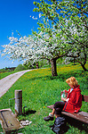 Deutschland, Bayern, Oberbayern, Chiemgau: Frau ruht auf Bank, Blumenwiese und Apfelbluete | Germany, Bavaria, Upper Bavaria, Chiemgau: woman sitting on bench, flower meadow and fruit tree blossom