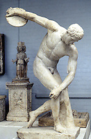 Greek Arts:  Discus Thrower--Roman copy of Myron's bronze, 5th c. B.C.  The head has been wrongly restored.  British Museum.