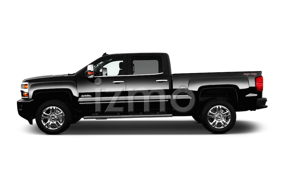Car Driver side profile view of a 2016 Chevrolet Silverado 2500Hd High Country 4 Door Pick Up Side View