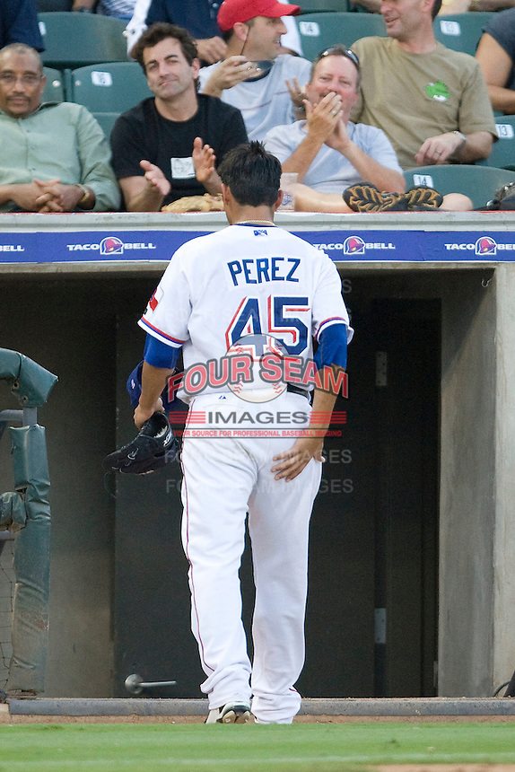 Round Rock Express pitcher Martin Perez #45 leaves the field after being removed during a game against the New Orleans Zephyrs at the Dell Diamond on July 21, 2011 in Round Rock, Texas.  New Orleans defeated Round Rock 7-4.  (Andrew Woolley/Four Seam Images)