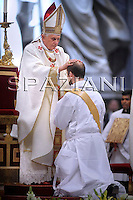 Ordained new priests,Pope Benedict XVI in St. Peter Basilica at the Vatican,May 3,2009