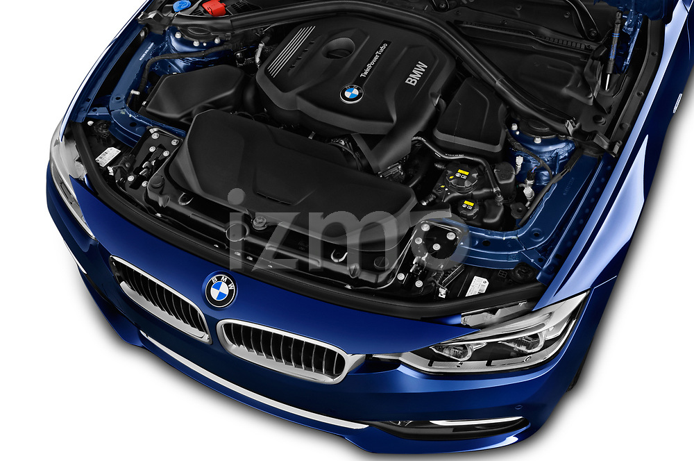 Car stock 2017 BMW 3 Series Touring Luxury 5 Door Wagon engine high angle detail view