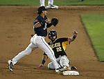 Reno Aces' Ildemaro Vargas puts out Salt Lake Bees' Kaleb Cowart at Greater Nevada Field, in Reno, Nev., on Monday, Aug. 10, 2016.   <br />Photo by Cathleen Allison
