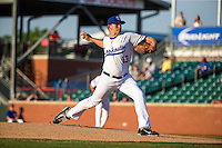 Tyler Duffey (13) of the Chattanooga Lookouts pitches during a game between the Jackson Generals and Chattanooga Lookouts at AT&T Field on May 7, 2015 in Chattanooga, Tennessee. (Brace Hemmelgarn/Four Seam Images)
