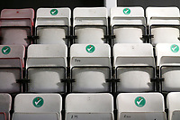Ticks on the usable seats in the main stand to comply with Covid-19 safety guidance during Hornchurch vs Wingate & Finchley, Pitching In Isthmian League Premier Division Football at Hornchurch Stadium on 6th October 2020