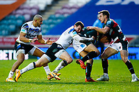 3rd January 2021; Welford Road Stadium, Leicester, Midlands, England; Premiership Rugby, Leicester Tigers versus Bath Rugby; Ben Spencer of Bath Rugby drives Freddie Steward of Leicester Tigers back towards his try line