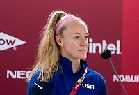 TOKYO, JAPAN - JULY 20: Becky Sauerbrunn #4 and Vlatko Andonovski of the USWNT talks to the media during a press conference at Tokyo Stadium on July 20, 2021 in Tokyo, Japan.