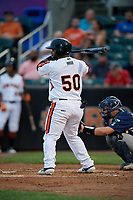 Aberdeen IronBirds Lenin Rodriguez (50) at bat during a NY-Penn League game against the Vermont Lake Monsters on August 19, 2019 at Leidos Field at Ripken Stadium in Aberdeen, Maryland.  Aberdeen defeated Vermont 6-2.  (Mike Janes/Four Seam Images)