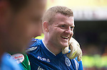 Motherwell v St Johnstone….07.05.16  Fir Park, Motherwell<br />All smiles on the face of Brian Easton at full time<br />Picture by Graeme Hart.<br />Copyright Perthshire Picture Agency<br />Tel: 01738 623350  Mobile: 07990 594431