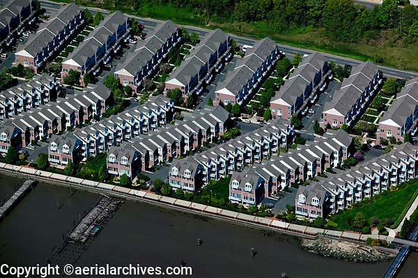 aerial photograph of waterfront town houses along the Hudson river, West New York, Hudson County, New Jersey