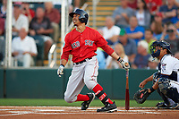 Boston Red Sox right fielder Mookie Betts (50) hits a home run during a Spring Training game against the Minnesota Twins on March 16, 2016 at Hammond Stadium in Fort Myers, Florida.  Minnesota defeated Boston 9-4.  (Mike Janes/Four Seam Images)