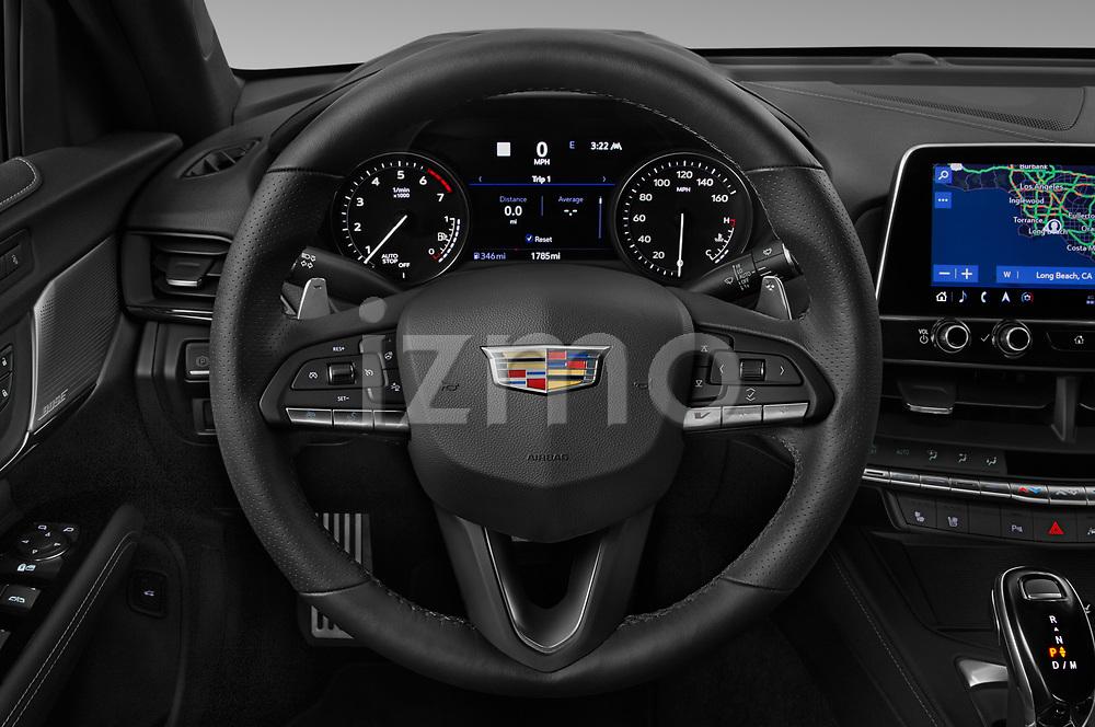 Car pictures of steering wheel view of a 2020 Cadillac CT4-V V-Series 4 Door Sedan Steering Wheel