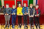 Duagh/Lyre Community Games: Members of Duagh & Lyrecrompane National Schools who took part in Community game receiving their trophies at Duagh school on Friday night last. L-R : Jamie Daly, Eric Sheehy, Kate & Ronan Sheridan, Thomas Cahill & Geraoid Buckley.