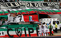 MANIZALES - COLOMBIA, 05-09-2021:Robert Mejia del Once Caldas  celebra después de anotar el  gol de su equipo durante partido por la fecha 8 entre Once Caldas y el Atlético Bucaramanga como parte de la Liga BetPlay DIMAYOR II 2021 jugado en el estadio Palogrande de la ciudad de Manizales. /Robert Mejia of Once Caldas celebrates after scoring the goal of his team during Match for the date 8 between Once Caldas and Atletico Bucaramanga as part of the BetPlay DIMAYOR League II 2021 played at stadium in Palogrande in Manizales city. Photo: VizzorImage / John Jairo Bonilla / Contribuidor