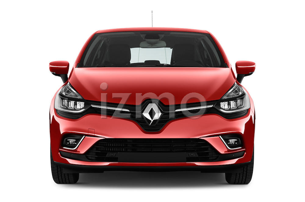 Car photography straight front view of a 2017 Renault Clio Intens 5 Door Hatchback Front View