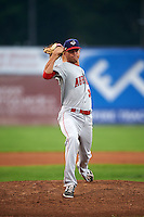 Auburn Doubledays pitcher Taylor Guilbeau (30) delivers a pitch during a game against the Batavia Muckdogs on September 5, 2015 at Dwyer Stadium in Batavia, New York.  Batavia defeated Auburn 6-3.  (Mike Janes/Four Seam Images)
