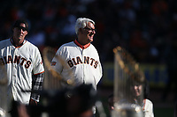 SAN FRANCISCO, CA - SEPTEMBER 29:  Former San Francisco Giants player Dave Dravecky watches during a ceremony celebrating the career of manager Bruce Bochy after the game between the Los Angeles Dodgers and the San Francisco Giants at Oracle Park on Sunday, September 29, 2019 in San Francisco, California. (Photo by Brad Mangin)