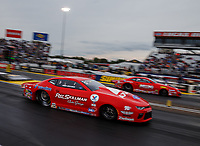 Sep 1, 2017; Clermont, IN, USA; NHRA pro stock driver Drew Skillman (near) races alongside Erica Enders-Stevens during qualifying for the US Nationals at Lucas Oil Raceway. Mandatory Credit: Mark J. Rebilas-USA TODAY Sports