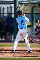 Jacob Honadel (15) of Blue Valley High School in Overland Park, Kansas during the Baseball Factory All-America Pre-Season Tournament, powered by Under Armour, on January 13, 2018 at Sloan Park Complex in Mesa, Arizona.  (Mike Janes/Four Seam Images)