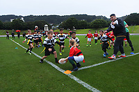 Action from the Wellington under-7 rippa rugby match between Marist St Pats Lions and Oriental Rongotai Magpies at the Basin Reserve in Wellington, New Zealand on Saturday, 29 May 2021. Photo: Dave Lintott / lintottphoto.co.nz