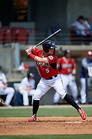 Carolina Mudcats Tristen Lutz (5) at bat during a Carolina League game against the Winston-Salem Dash on August 14, 2019 at Five County Stadium in Zebulon, North Carolina.  Winston-Salem defeated Carolina 4-2.  (Mike Janes/Four Seam Images)