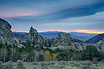 Idaho, South Central, Oakley. Sunrise at City of Rocks in autumn.
