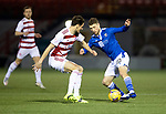 Hamilton Accies v St Johnstone …03.03.21   Fountain of Youth Stadium   SPFL<br />David Wotherspoon and Charlie Trafford<br />Picture by Graeme Hart.<br />Copyright Perthshire Picture Agency<br />Tel: 01738 623350  Mobile: 07990 594431