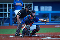 Catcher Grayson Hollingsworth (27) of Belton Honea-Path High School (SC) playing for the New York Mets scout team sets a target as home plate umpire Caleb Stone look on during game three of the South Atlantic Border Battle at Truist Point on September 26, 2020 in High Pont, NC. (Brian Westerholt/Four Seam Images)