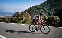 Tadej Pogacar (SVN/UAE-Emirates) setting up a solo attack on the Passo di Ganda<br /> <br /> 115th Il Lombardia 2021 (1.UWT)<br /> One day race from Como to Bergamo (ITA/239km)<br /> <br /> ©kramon