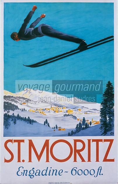 Europe/Suisse/Engadine/Saint-Moritz: Vieille affiche de la station de sport d'hiver - le saut à ski