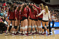 STANFORD, CA - NOVEMBER 17: Stanford, CA - November 17, 2019: Team at Maples Pavilion. #4 Stanford Cardinal defeated UCLA in straight sets in a match honoring neurodiversity. during a game between UCLA and Stanford Volleyball W at Maples Pavilion on November 17, 2019 in Stanford, California.