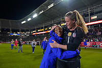 CARSON, CA - FEBRUARY 7: Crystal Dunn #19 celebrates with United States goalkeeper Alyssa Naeher #1 during a game between Mexico and USWNT at Dignity Health Sports Park on February 7, 2020 in Carson, California.