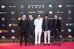 Chen Guoxing, Li Yang, Sun Zhou, Zhang Jianya, Guo Fan, and Wen Jun walk the Red Carpet event at the World Celebrity Pro-Am 2016 Mission Hills China Golf Tournament on 20 October 2016, in Haikou, China. Photo by Weixiang Lim / Power Sport Images