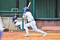 Kingsport Mets designated hitter Brett Baty (1) swings at a pitch during a game against the Elizabethton Twins at Joe O'Brien Field on July 6, 2019 in Elizabethton, Tennessee. The Twins defeated the Mets 5-3. (Tony Farlow/Four Seam Images)