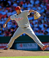 23 September 2007: Philadelphia Phillies pitcher Clay Condrey in action against the Washington Nationals at Robert F. Kennedy Memorial Stadium in Washington, DC. The Nationals defeated the visiting Phillies 5-3 to close out the 2007 home season and the final game in baseball history at RFK Stadium. The Nationals will open up the 2008 season at Nationals Park, their new facility currently under construction.. .Mandatory Photo Credit: Ed Wolfstein Photo