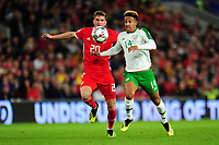 Christopher Mepham of Wales battles with Callum Robinson of Republic of Ireland during the UEFA Nations League B match between Wales and Ireland at Cardiff City Stadium in Cardiff, Wales, UK.September 6, 2018