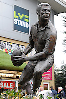 20130309 Copyright onEdition 2013©.Free for editorial use image, please credit: onEdition..Statue of Nick Duncombe (Harlequins and England) in front of the LV= Stand during the LV= Cup semi final match between Harlequins and Bath Rugby at The Twickenham Stoop on Saturday 9th March 2013 (Photo by Rob Munro)..For press contacts contact: Sam Feasey at brandRapport on M: +44 (0)7717 757114 E: SFeasey@brand-rapport.com..If you require a higher resolution image or you have any other onEdition photographic enquiries, please contact onEdition on 0845 900 2 900 or email info@onEdition.com.This image is copyright onEdition 2013©..This image has been supplied by onEdition and must be credited onEdition. The author is asserting his full Moral rights in relation to the publication of this image. Rights for onward transmission of any image or file is not granted or implied. Changing or deleting Copyright information is illegal as specified in the Copyright, Design and Patents Act 1988. If you are in any way unsure of your right to publish this image please contact onEdition on 0845 900 2 900 or email info@onEdition.com