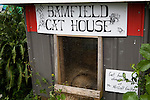 House for stray cats along a boardwalk that fronts the entire waterfront of the fishing village of Bamfield, located on the south side of Albernie Inlet, Vancouver Island, British Columbia, Canada.  Bordering one unit of Canada's Pacific Rim National Park and surrounded by rain forest.